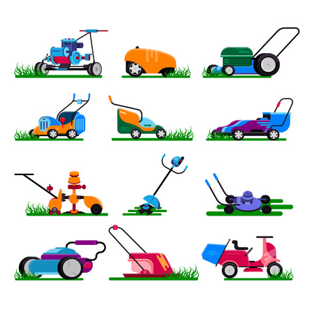 Lawn mower vector gardening lawnmower electric equipment machine and garden mowing trimmer illustration machinery set of power tools lawn-mower isolated on white background. Archivio Fotografico - 124637993