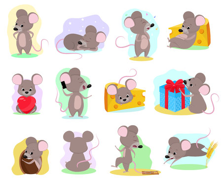 Cartoon mouse vector mousy animal character rodent and funny rat with cheese illustration mousey set of little mice in mousetrap and mouselook in love illustration set isolated on white background.