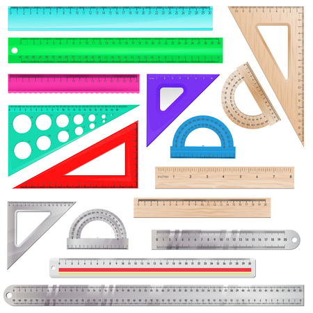 Ruler vector maths measurement scale tool to measure length illustration protractor angle equipment line instrument at school set of education schooling object isolated on white background