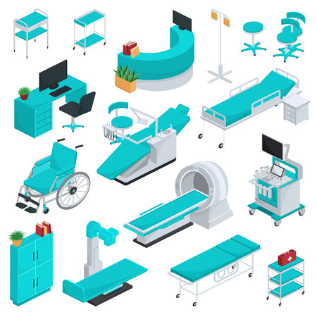 Medical equipment vector clinic technology healthcare treatment in hospital illustration medicable set of wheelchair dentist chair operating surgery bed furniture isolated on white background.