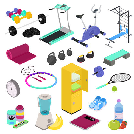 Sprzęt fitness wektor siłownia klub trening treningowy z ciężarkami kulturystyka hantle w sportclub ilustracja izometryczny zestaw ćwiczeń w podnoszeniu ciężarów odżywianie sportowe na białym tle