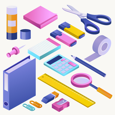 Office supply vector stationery school tools icons and accessories of education assortment pencil marker illustration schooling isometric set of calculator scissors ruler isolated on white background. Ilustração Vetorial