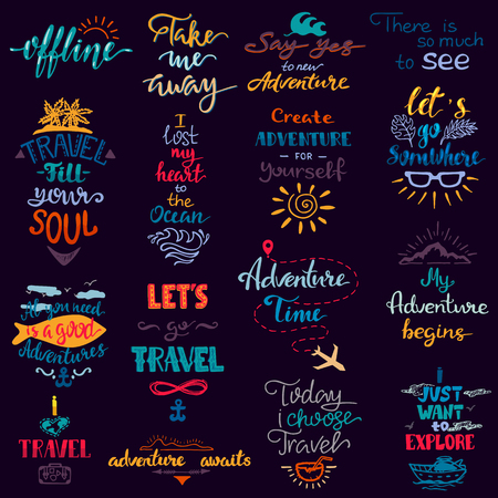 Traveling lettering vector adventure sign and journey typographic print illustration set of voyage tour trip inspirations to travel isolated on white background.