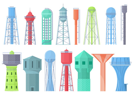 Water tower vector tank storage watery resource reservoir and industrial high metal container water-tower illustration set of towered construction isolated on white background.
