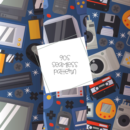 90s devices seamless pattern vector illustration. Old technologies such as cassette, camera, floppy disk, mobile phone, joypad, TV set. Nostalgia for old years and equipment.