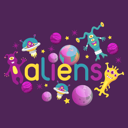 Monster alien poster, banner vector illustration. Cartoon monstrous character, cute alienated creature or funny gremlin on halloween for kids. Spacecraft in cosmos among stars. Illustration