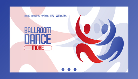 Abstract dancing couple banner vector illustration. Ballrom dance website design. Join club, learning more information about course. Contact us, home, about us, options, info buttons. Ilustração