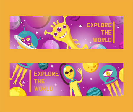 Monster alien set of banners vector illustration. Cartoon monstrous character, cute alienated creature or funny gremlin on halloween for kids. Spacecraft in cosmos among stars. Explore the world. Çizim