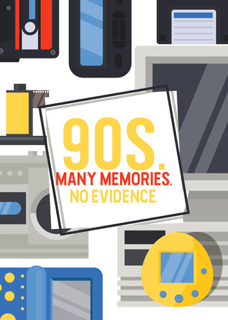 90s devices banner, poster vector illustration. Old technologies such as cassette, camera, floppy disk, mobile phone, joypad. Nostalgia for old years. Many memories. No evidence. Ilustração