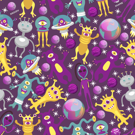 Monster alien seamless pattern vector illustration. Cartoon monstrous character, cute alienated creature or funny gremlin on halloween for kids. Spacecraft in cosmos among stars, planets, moon. Çizim