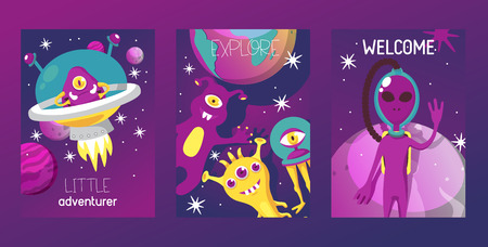 Alien set of cards vector illustration. Cartoon monstrous character, cute alienated creature or funny gremlin on halloween for kids. Spacecraft in cosmos among stars. Little adventurer. Explore. Çizim