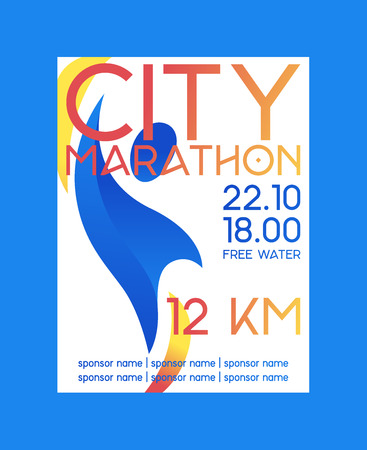 City marathon poster, banner vector illustration. Abstract person on background. Running competition. Long distance of 12 kilometers. Taking part in race. Date and time of event. Sponsor name.