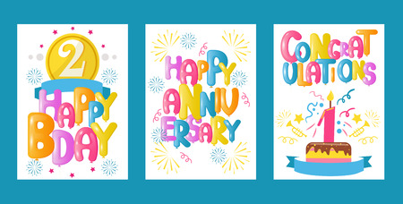 Balloon font set of greeting cards vector illustration. Celebration and party background with colorful flying balloons. Happy birthday, anniversary, baby shower, congratulations. Cake for kid. Vetores