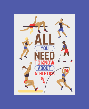 Women athletics banner, poster, brochure vector illustration. Exercising female in different poses. Woman figures are training in sport club. Running and jumping. Website design.