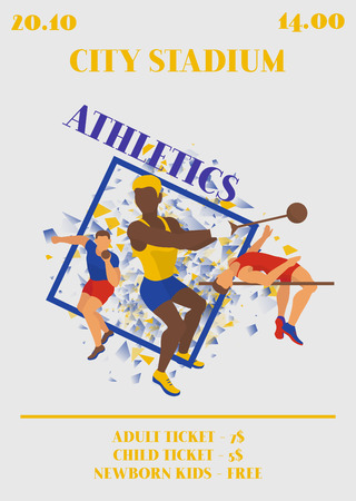 Competition poster. Athlete man vector illustration. Exercising male in different poses. Man figures are training. City stadium. Date and time of event. Jumping and shot putting.