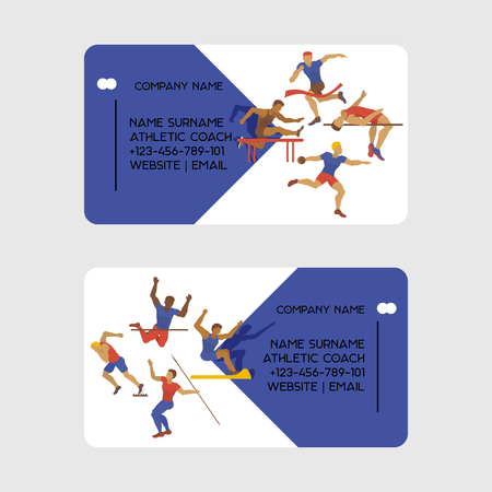 Athletic coach business card vector illustration. Exercising male in different poses. Man figures are training in sport club. Running, shot putting and jumping . Athletics competition. Contact info.