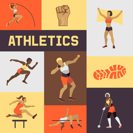 Women athletics banner, poster, brochure vector illustration. Exercising female in different poses. Woman figures are training in sport club. Running and jumping. Athletics competition. Foto de archivo - 120234123