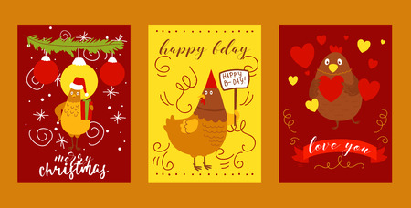 Chicken set of greeting cards vector illustration. Merry Christmas hen with hat and gift, spruce branch with decor. Happy birthday character. Love you domestic animal with heart for Valentines day.