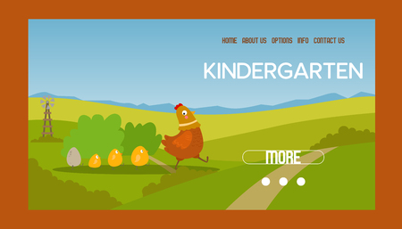 Adorable hen and chicks banner vector illustration. Chicken with brood. Cute lovely family of domestic fowl or poultry birds on meadow. Website design of kindergarten. Farming. 일러스트
