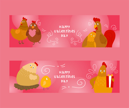 Chicken and rooster with chicks set of banners vector illustration. Happy Valentines day greeting. Giving presents or gifts. Couple in love. Domestic animals celebrating holiday. Paultry family.  イラスト・ベクター素材