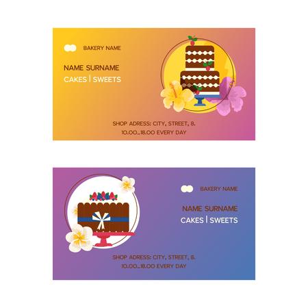 Ensemble de gâteaux d'illustration vectorielle de cartes de visite. Desserts chocolatés et fruités pour confiserie avec cupcakes frais et savoureux, gâteaux, pudding, biscuits, crème fouettée, glaçage et vermicelles. Vecteurs