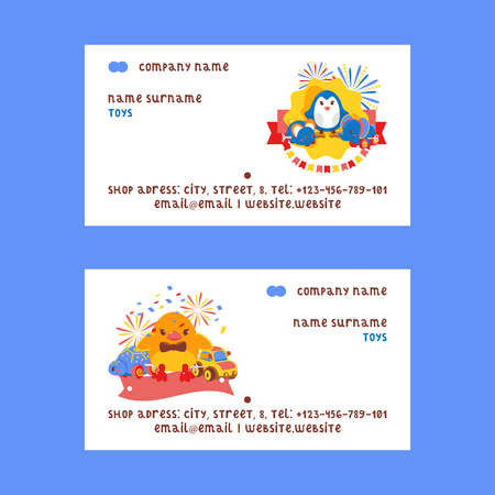 Clockwork bright mechanic children tin toys set of business cards vector illustration. Mechanical windup cute gifts. Animals such as duck, turtle, elephant, mouse, penguin.