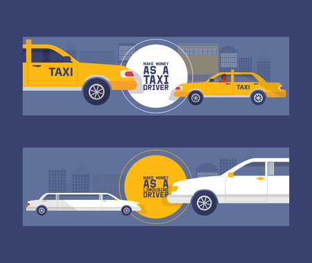 Taxi driver concept set of banners vector illustration. Car, transport, transportation, transfer icon. Public service. Make money as a limousine driver. Luxury vehicle stretch car. Limo, saloon car.