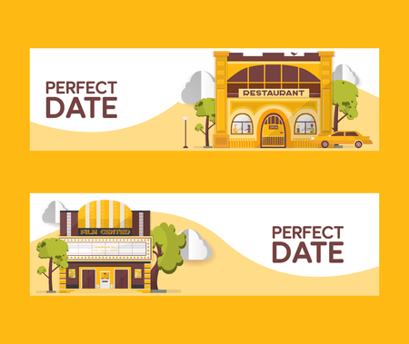 Perfect date set of banners vector illustration. Restaurant and cinema buildings. Film center among trees. Car driving to cafe. Watching films. Eating out. Day night city. Entertainment, spend time. Ilustração