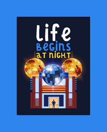 Night city poster, banner vector illustration. Life begins at night. Entertainment and event, disco show. Building of club. Security check with guard in uniform. Shining disco ball. Man in uniform.