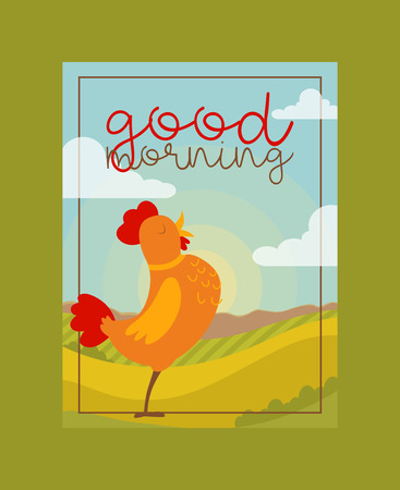 Chicken, rooster poster, banner vector illustration. Cartoon paultry character in meadow. Good morning. Early singing beautiful cockerel. Nature with blue sky and dawn. Farming and country side.