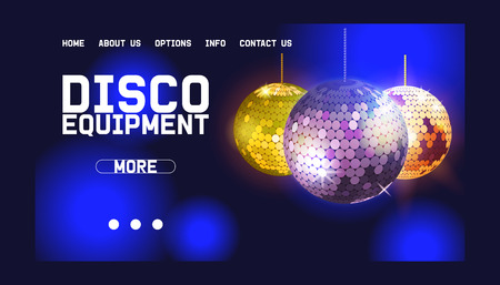 Disco ball web design banner vector illustration. Shop or store with equipment for disco show. Life begins at night. Night city entertainment and event. Contact information. Mirror ball for dance. Ilustrace