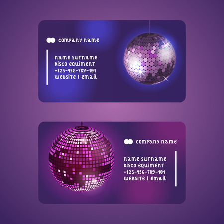 Disco ball set of business cards vector illustration. Shop or store with equipment for disco show. Life begins at night. Night city entertainment and event. Contact information. Website and email.