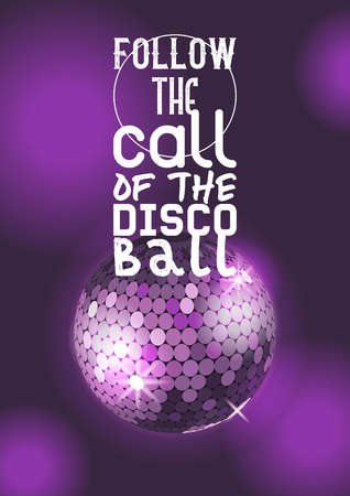 Retro party poster vector illustration. Entertainment and event, disco show. Party light element. Bright mirror ball design for disco dance club. Follow the call of the disco ball.