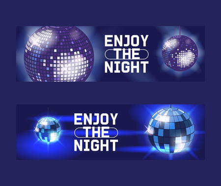 Enjoy the night set of banners, posters vector illustration. Life begins at night. Entertainment and event, disco show. Shining disco ball. Club party light element. Bright mirror ball for dancing. Illustration