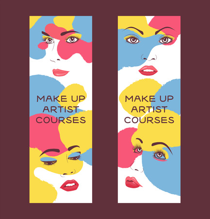 Woman face set of banners vector illustration. Beauty design for salon, make up artist courses training. Cosmetic products, professional care. School for beautician. Masterclass. Eyes, lips, nouse. Vektoros illusztráció
