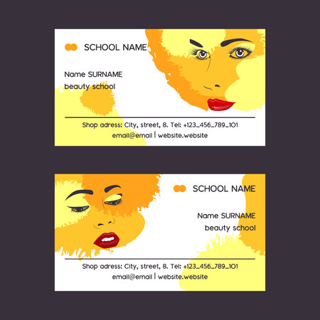 Woman face set of business card vector illustration. Beauty design for salon, make up artist courses training. Cosmetic products, professional care. School for beautician. Masterclass. Contact info.