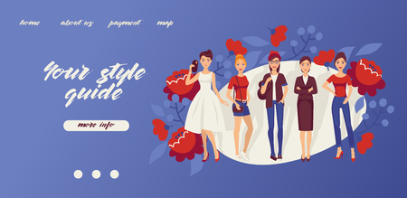 Fashion girls banner vector illustration. Your style guide web design. Beautiful women in dress, suit, skirt and T-shirt, jeans with shirt. red shoes, sneakers with flowers on background. Vectores