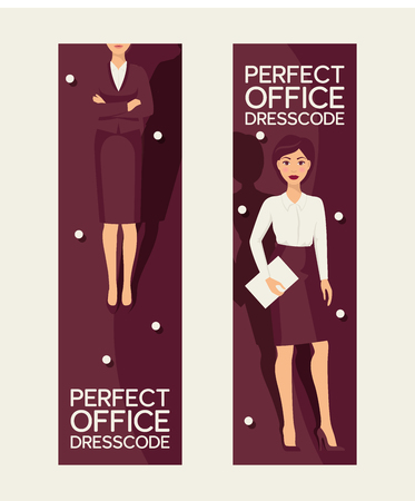 Perfect office dresscode set of banners vector illustration. Elegant pretty business woman in formal clothes. Base wardrobe, feminine corporate clothing. Skirt jacket, shirt.