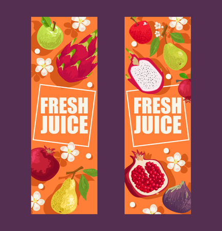 Tropical fruits set of banners vector illustration. Exotic summer products such as mangosteen, apple, dragonfruit, pear, garnet. Flowers with leaves. Halves and whole fruits. Ilustração