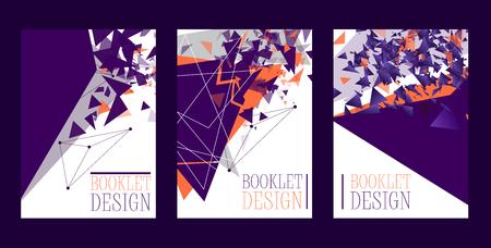 Abstract booklet design poster, banner, card vector illustration. Minimalistic design, creative concept, modern background. Geometric element. Colorful bright squares, triangles.