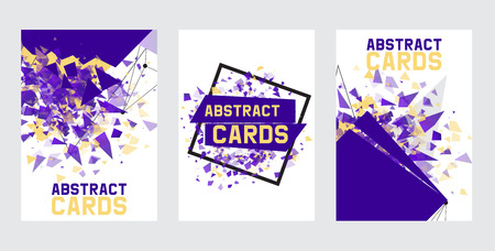 Abstract collection of banners, cards, posters vector illustration. Minimalistic design, creative concept, modern background. Geometric element. Colorful bright squares. Braking into pieces.