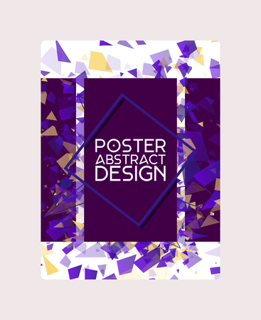 Abstract design poster, banner, card vector illustration. Minimalistic design, creative concept, modern background. Geometric element. Colorful bright squares, rectangles. Braking into pieces.