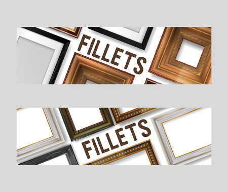 Picture framing set of banners, flyers vector illustration. Online shopping. Buying fillets in shop or store. Vintage gold, white, black wooden frames for mirrors, paintings.