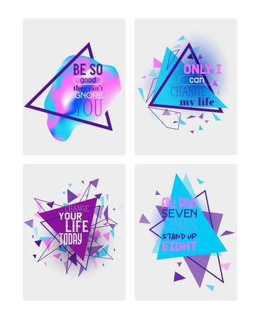 Abstract motivational set of banners, cards vector illustration. Minimalistic design, creative concept. Geometric element. Only I can change my life. Fall down seven times stand up eight.  イラスト・ベクター素材