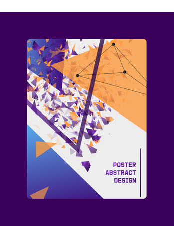 Abstract design banner, card, poster vector illustration. Minimalistic design, creative concept, modern background. Geometric elements. Colorful bright triangles cover. Lines constructor.