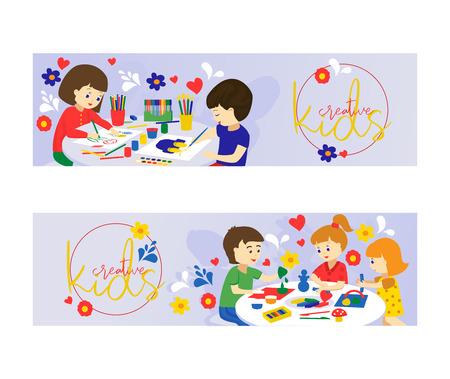 Kreative Kinder-Set Banner-Vektor-Illustration. Mädchen und Jungen spielen, malen, Papier schneiden, skizzieren. Bildungs- und Genusskonzept. Bunte Bleistifte, Aquarell, Plastilin. Vektorgrafik