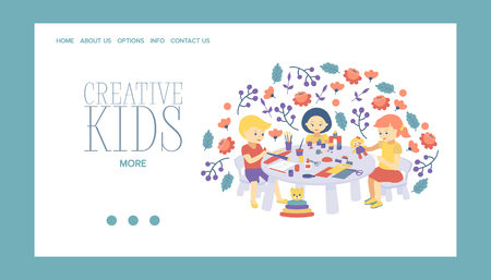Creative kids banner vector illustration. Girls and boys drawing, painting, cutting paper, sketching. Education and enjoyment concept. Colorful pencils, watercolor. Playing with toys.