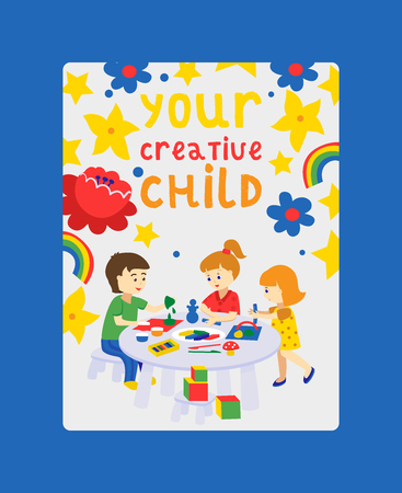 Creative kids banner vector illustration. Girls and boys drawing, painting, cutting paper, sketching. Education, enjoyment concept. Pencils, watercolor, plasticine. Playing with toys. Creative child. Ilustração