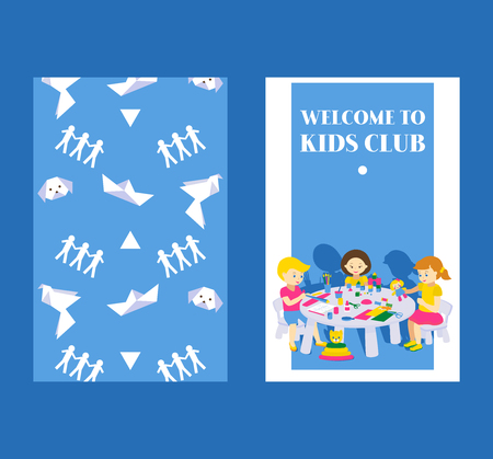 Creative kids banner vector illustration. Girls and boys drawing, painting, cutting paper, sketching. Education and enjoyment concept. Colorful pencils, watercolor. Welcome to kids club. Pater boat.