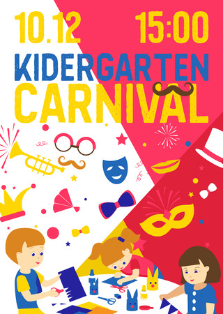 Creative kids banner vector illustration. Kindergarten carnival. Girls and boys drawing, painting, cutting paper, sketching. Education and enjoyment concept. Colorful pencils, watercolor. Playing. Standard-Bild - 124118798